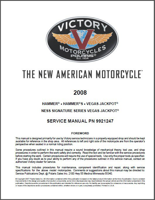 2008 Victory Hammer / Hamer S / Vegas Jackpot (Ness Signature) Service Manual CD