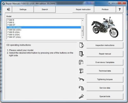 2008-2009-2010-2011-2012 BMW F650GS Twin RepROM Service Manual DVD Multilingual