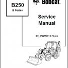 Bobcat B250 B Series Backhoe Loader Service Manual on a CD