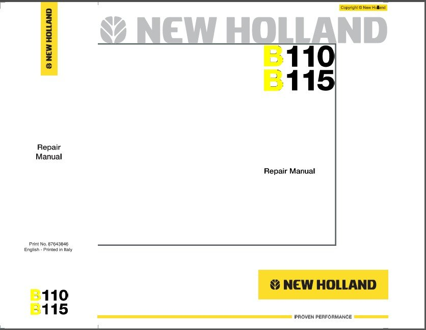 New Holland B110 B115 Backhoe Loader Service Manual on a CD