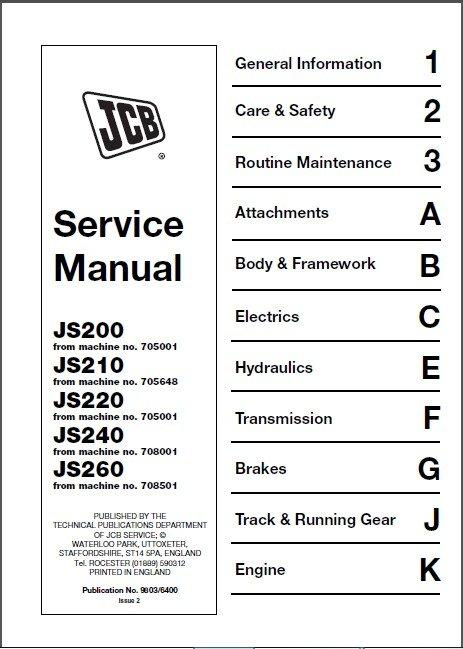 JCB JS200 JS210 JS220 JS240 JS260 Excavator Service Manual on a CD