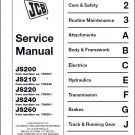 JCB JS200 JS210 JS220 JS240 JS260 Excavator Service Manual on a CD