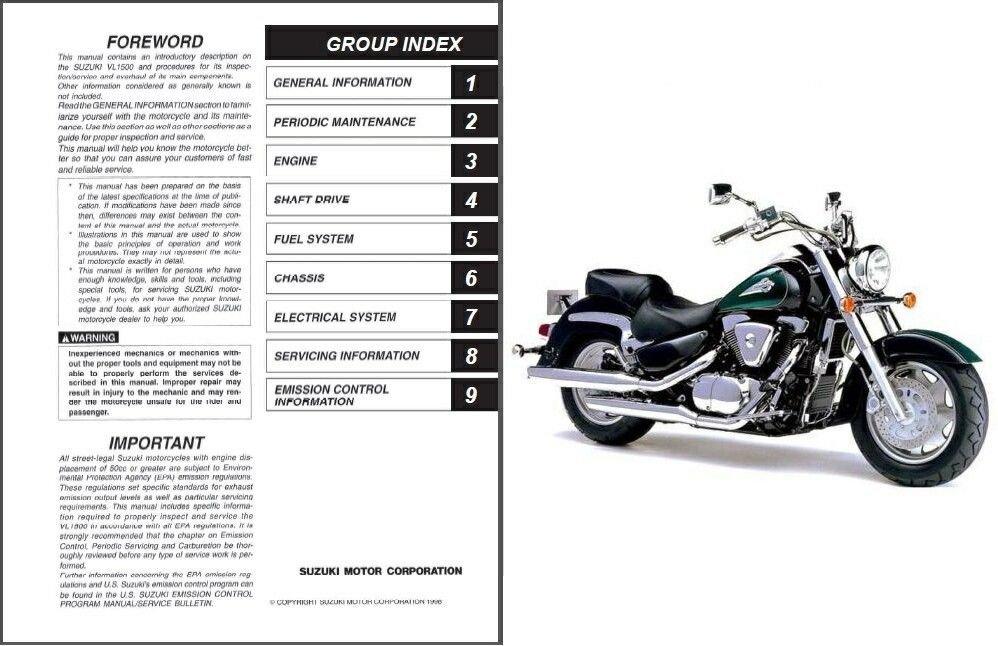 1998-2009 Suzuki VL 1500 Intruder LC / Boulevard C90 Service Manual CD -- VL1500