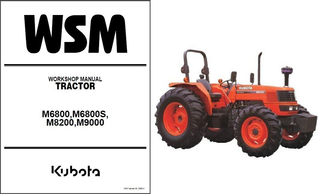 Kubota M6800 M6800S M8200 M9000 Tractor WSM Service Workshop Manual CD