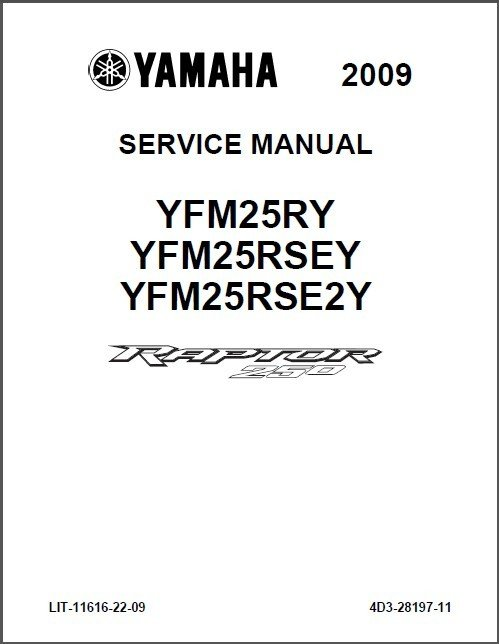 2009-2012 Yamaha YFM250 Raptor 250 Service Manual on a CD