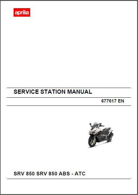 Aprilia SRV 850 / SRV 850 ABS - ATC Scooter Service & Parts Manual on a CD