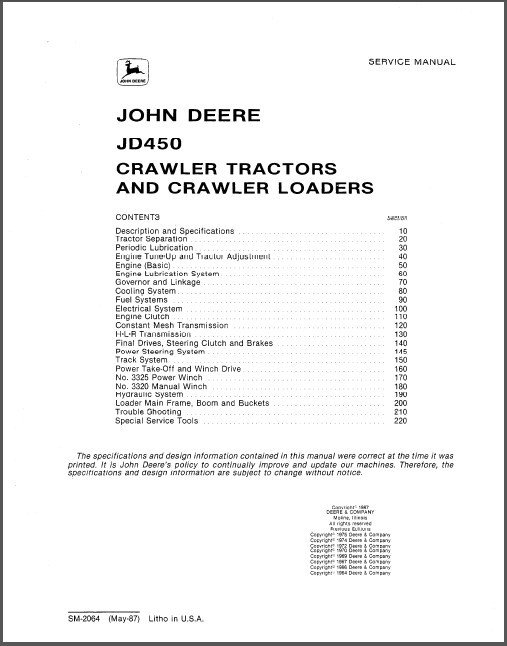 John Deere JD450 Crawler Tractor Loader Service Technical Manual CD - JD 450