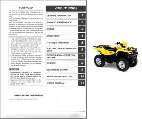 2005-2006-2007 Suzuki LT-A700X KingQuad 700 ATV Service Manual CD -- King Quad LTA700