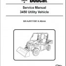 Bobcat 3450 Utility Vehicle UTV Service Repair Manual on a CD