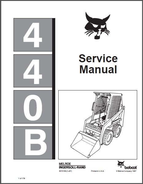 Bobcat 440B Skid Steer Loader Service Manual on a CD  --- 440 B