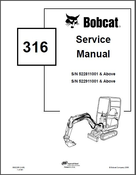 Bobcat 316 Compact Excavator Service Repair Manual on a CD
