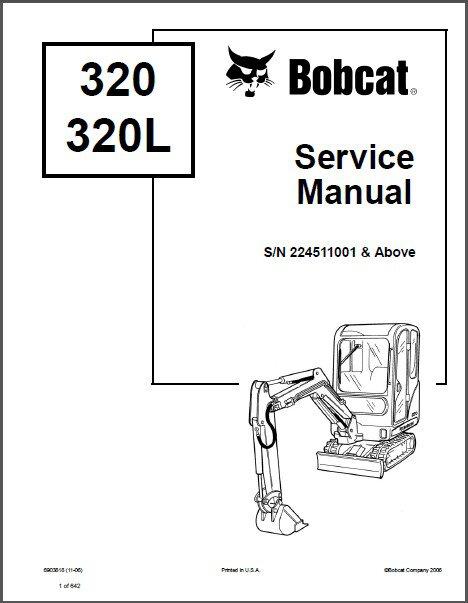 Bobcat 320 / 320L Excavator Service Repair Manual on a CD