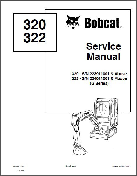 Bobcat 320 / 320L / 322 Excavator Service Repair Manual on a CD