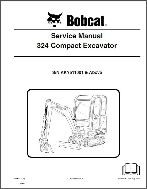Bobcat 324 Compact Excavator Service Repair Manual on a CD