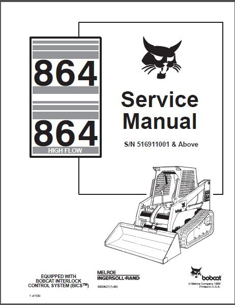 Bobcat 864 864H ( High Flow ) Skid Steer Loader Service Manual on a CD