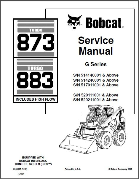 Bobcat 873 / 883 Turbo Skid Steer Loader Service Manual on a CD