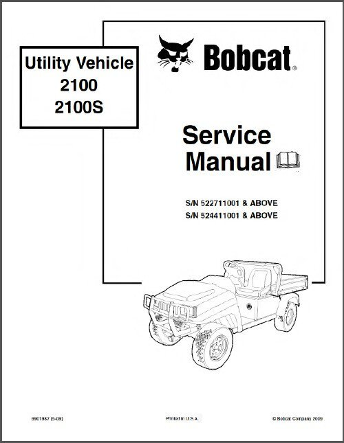 Bobcat 2100 2100S Utility Vehicle UTV Service Manual on a CD
