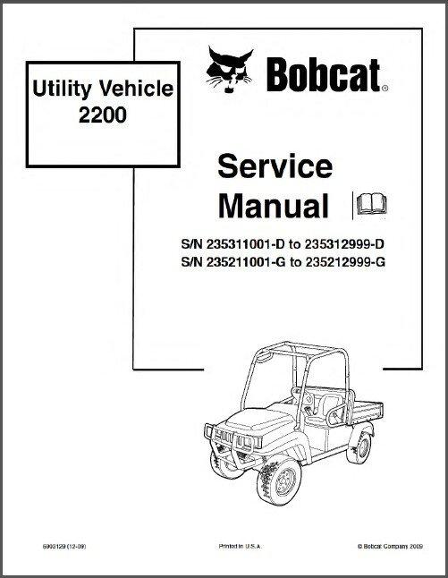 Bobcat 2200 Utility Vehicle UTV Service Manual on a CD