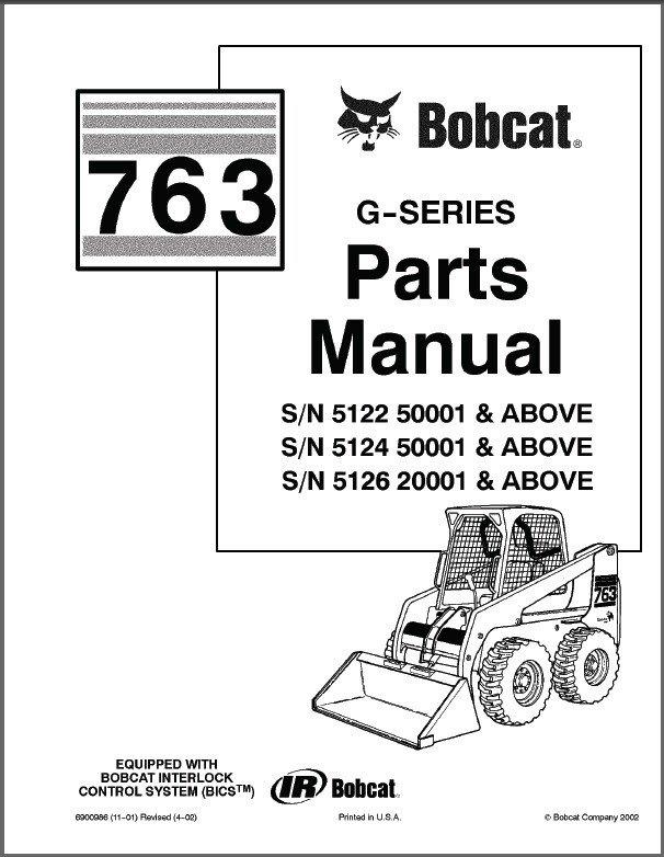 Bobcat 763 G Series Skid Steer Loader Parts Manual On A Cd