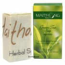 100 g. Maithong Natural Herbal Soap Bar Face And Body Wash Green Tea Leaf Soap