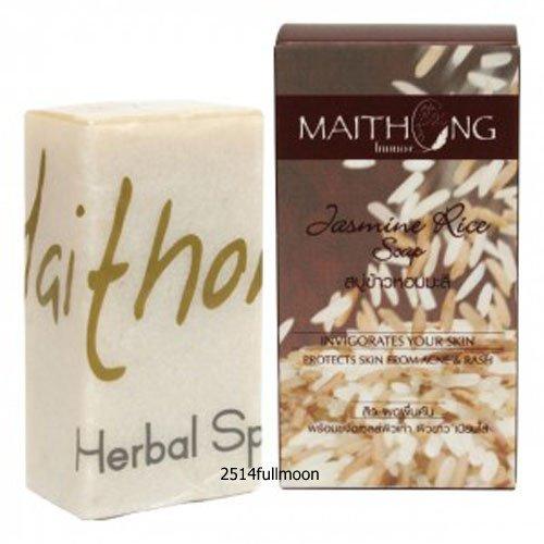 100 g. Maithong Natural Herbal Soap Bar Face And Body Wash Jasmine Rice Herbal Soap