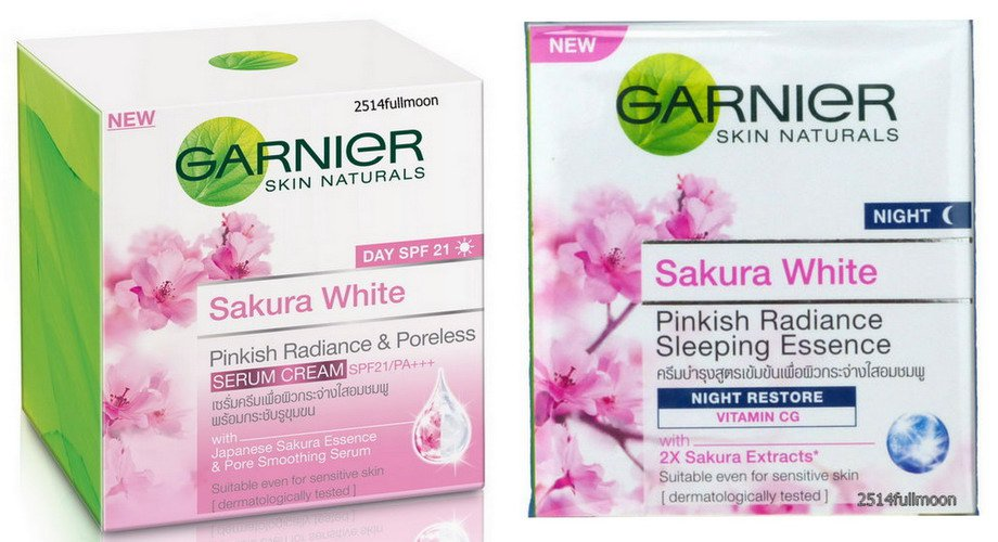 Set Of Day & Nihgt Garnier Sakura White Pinkish Radiance Moisturizing Cream