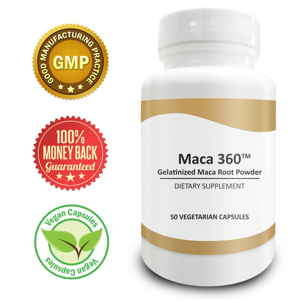 Pure Science Gelatinized Maca Root Powder 750mg - Boosts Muscle Mass & Libido
