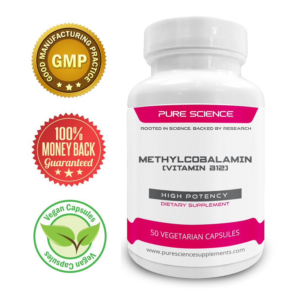 Pure Science Vitamin B12 Methylcobalamin 8000mcg - Improves Physical Energy