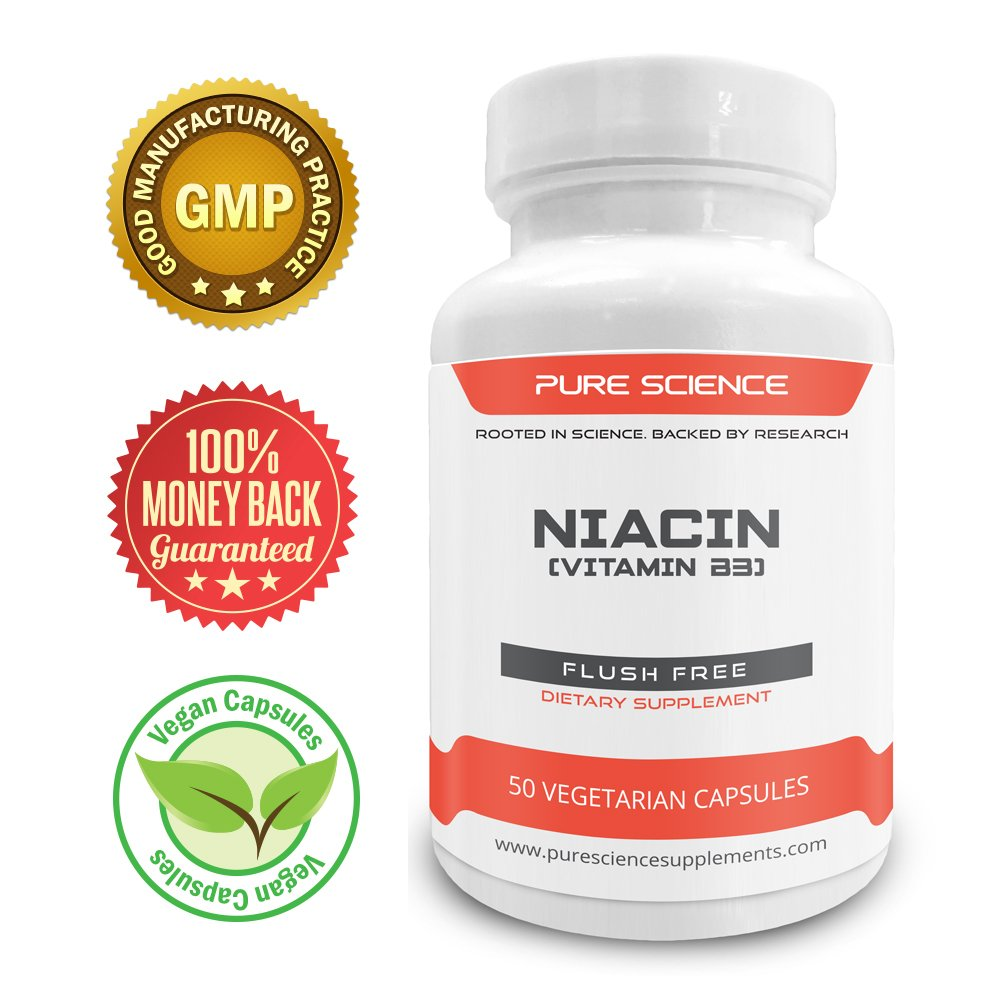 Pure Science Vitamin B3 Niacin 500mg (Flush Free) � Regulates Cholesterol Level