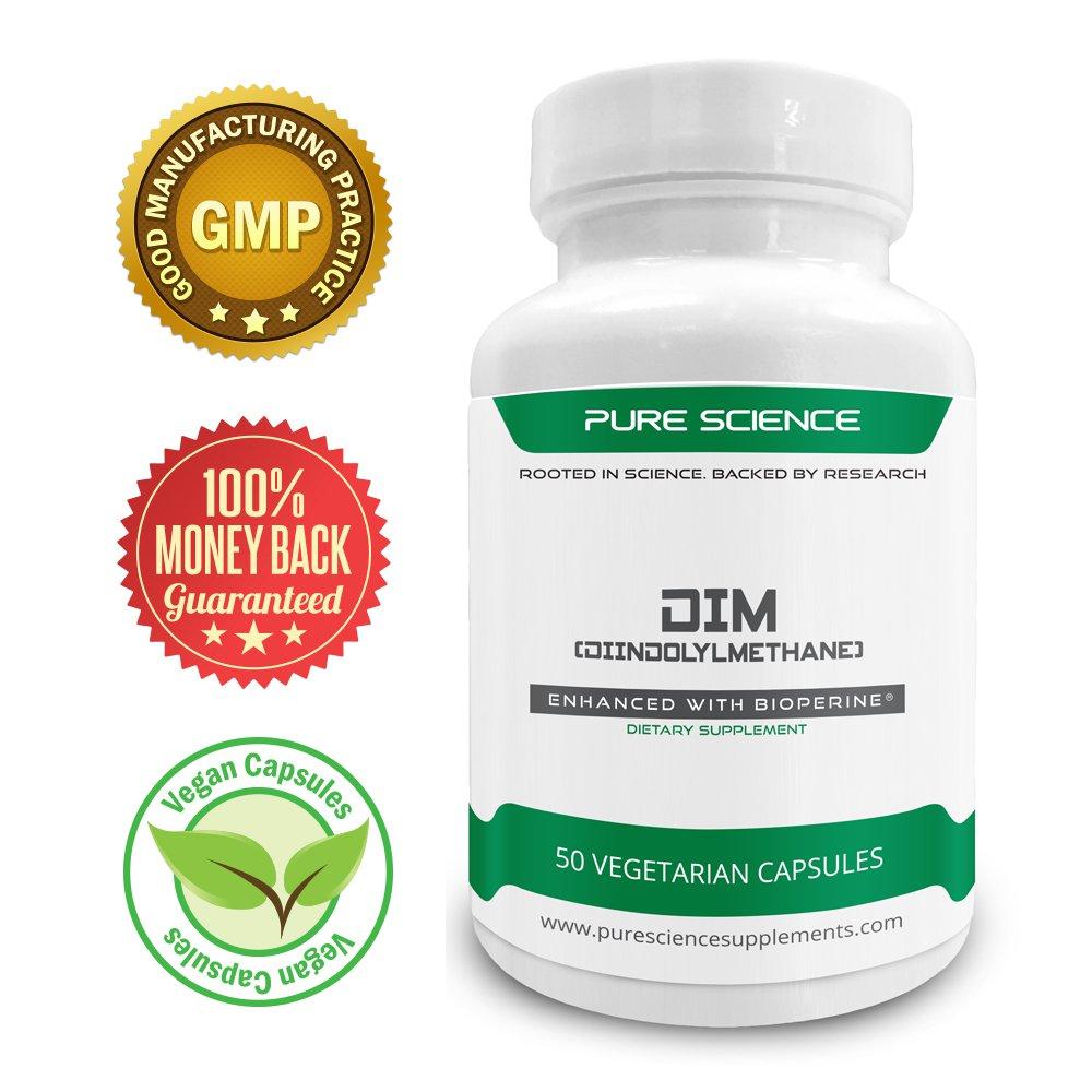 Pure Science DIM (Diindolylmethane) 200mg with 5mg BioPerine® � Estrogen Blocker
