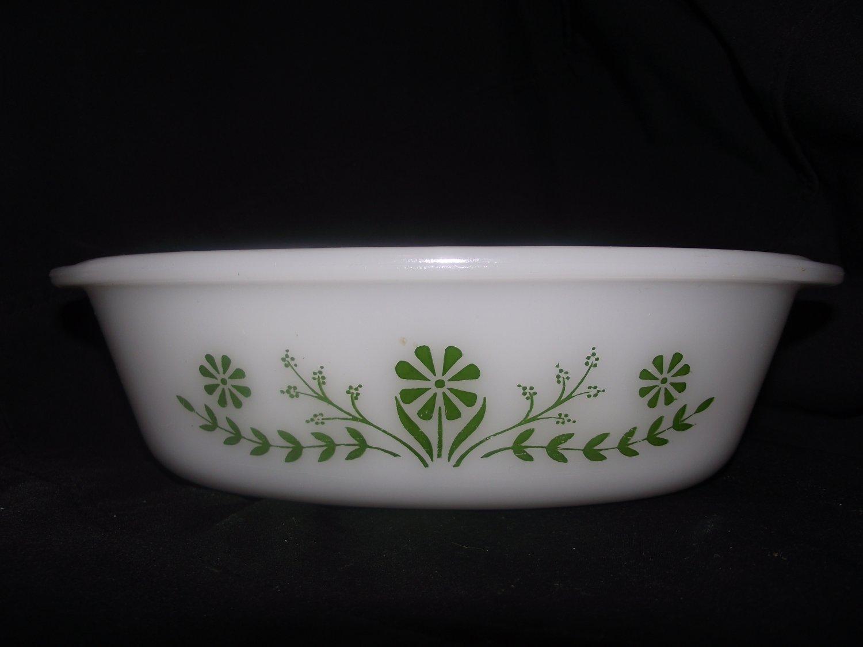 Vintage Glasbake Jeannette Green Daisy Casserole Baking Dish Oval 1 Qt. J 235