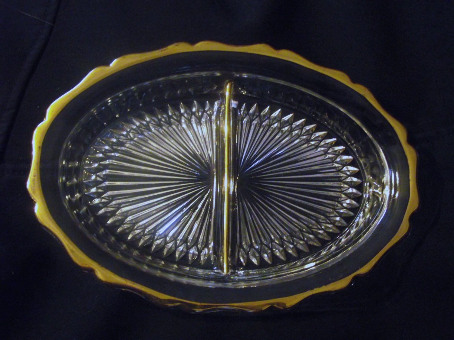 Vintage Jeannette Clear Glass Oval Divided Relish Dish Bowl Gold Trim