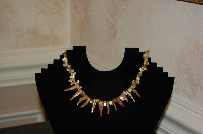 Speckled ebony-finished bone beads necklace
