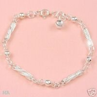 Children's Jewelry Sterling Silver Anklet w/Bell, 1 - 3Yrs/ Free Shipping