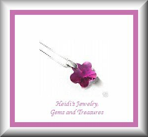 Children's Jewelry Fuchsia Swarovski Crystal Flower Sterling Silver Necklace/ Free Shipping
