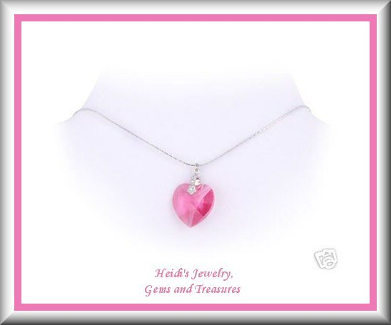 Children's Jewelry Pink Swarovski Crystal Heart Sterling Necklace/ Free Shipping