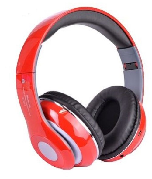 Bluetooth Wireless Headphones with Built In FM Tuner, Memory Card Slot and Mic - Red