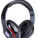Bluetooth Wireless Headphones with Built In FM Tuner, Memory Card Slot and Mic - Black