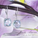 925 Silver Natural Sky Blue Topaz Earring (Include Shipping with Earring Box)