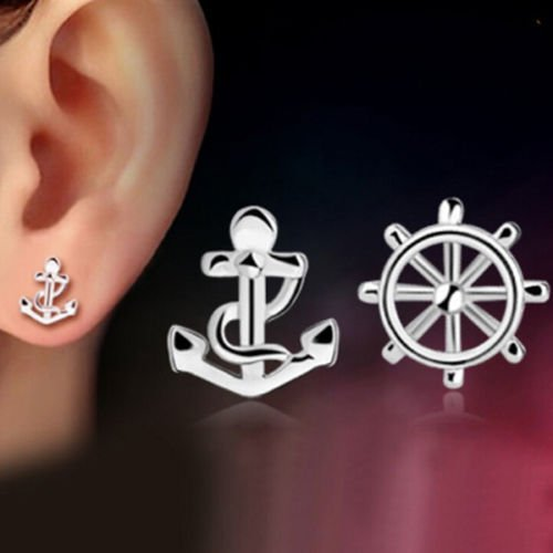 Women Cute Anchor and Rudder Ear Studs Tiny 925 Silver Plated Earrings