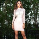 ! 2016  Gorgeous Twins Circle Ring Embellished Long Sleeves Knee Length Celebrity  Party Bandag