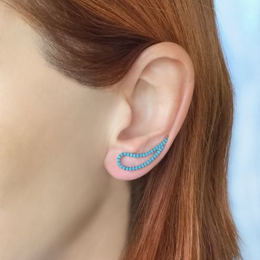 Turquoise ear climber sterling silver, jewelry, ear wrap, fine, gift for her EC04