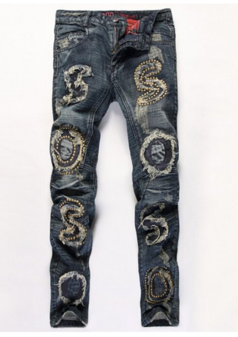 Embellished Zipper Fly Straight Leg Jeans