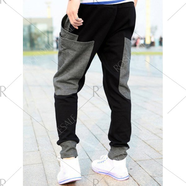 Pockets Design Drawstring Color Splicing Jogger Pants
