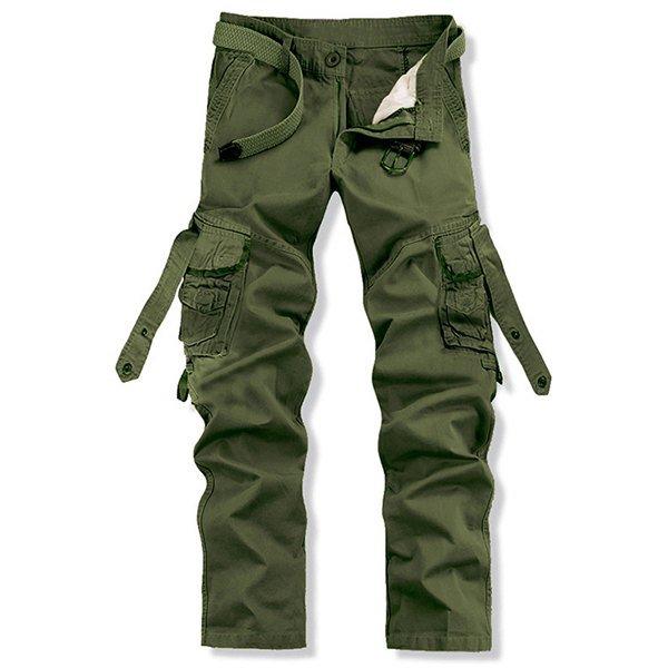 3 Stylish Loose Fit Solid Color Multi-Pocket Straight Leg Cotton Blend Cargo Pants For Men