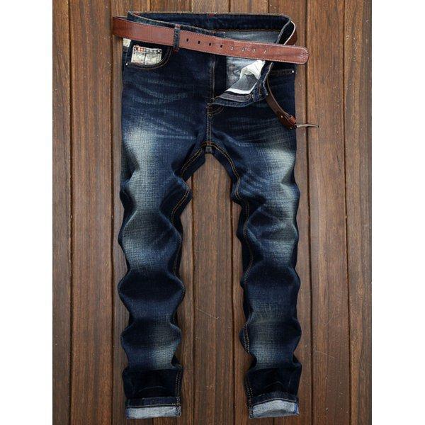 Splicing Design Bleach Wash Straight Leg Jeans