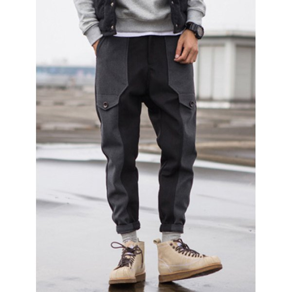 0 Zip Fly Wool Blend Panel Jogger Pants