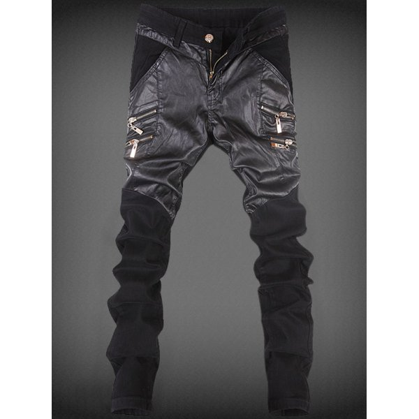 Zippers Design Leather Spliced Slim-Fit Pants