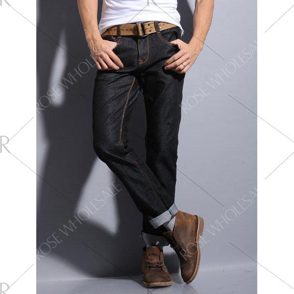 Pocket Zipper Fly Straight Leg Dark Wash Jeans