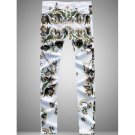 Zipper Fly Flowers Print Straight Leg Jeans